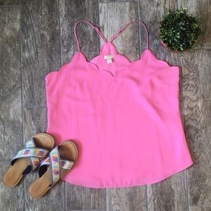 J. Crew Scalloped Racerback Tank Top